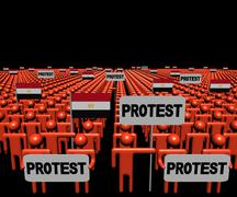 Stock Illustration of Crowd of people with protest signs and Egyptian flags illustration