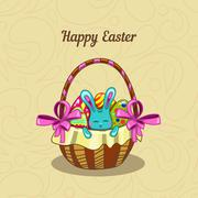 Greeting card with Easter bunny in a basket Stock Illustration