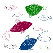 Aquarium Fishes - set of vector icons. - stock illustration