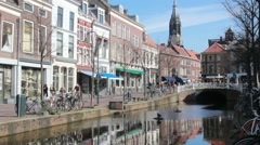 Canal in Delft, Holland Stock Footage