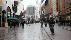 Time Lapse of Traffic & People in Downtown - The Hague Netherlands Stock Footage