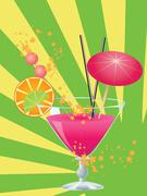 Pink cocktail with decorations Stock Illustration
