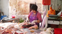 Shenzhen, China: Chicken stalls in the farmer's market Stock Footage