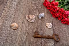 Rusty key, sea shell and roses on a wooden background Stock Photos
