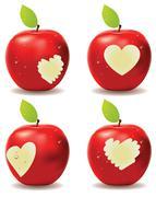 Red Apple Bite - stock illustration