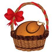 Roasted Turkey in a Basket - stock illustration