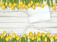 Stock Illustration of Empty note paper and tulip flowers. EPS 10