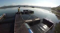 Lake Fisherman hauling fish from fish cage Stock Footage