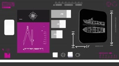 Military Ship - Coding Info - purple 02 - stock footage