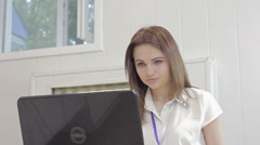 Office worker make out documents on a computer Stock Footage