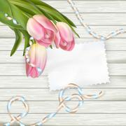 Note with copy space and tulip. EPS 10 - stock illustration