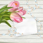 Empty note paper and tulip flowers. EPS 10 - stock illustration