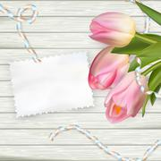 Stock Illustration of Bouquet of tulips on rustic wooden board. EPS 10