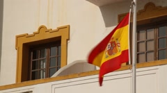 Spain flag, Tarifa city, traditional, national, Stock Footage