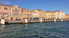 Fondamenta Zattere al Ponte Longo - seafront embankment, Venice, Italy Stock Footage