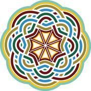 Byzantine decorative rosette. - stock illustration