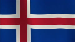 Iceland Flag waving in the wind in sun rise, Close up of the Iceland flag waving - stock footage
