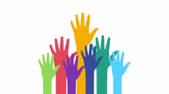 Colorful hands rising diversity concept - stock footage