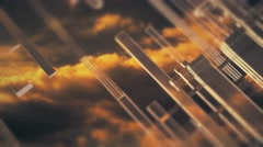 Background footage with clouds and lines grange style Stock Footage