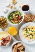 Continental Breakfast. Healthy Different Food. - stock photo