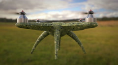 Military, camouflage textured drone takes off to spy mission up to the sky Stock Footage