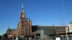 St Pancras Station, London with zoom. Stock Footage