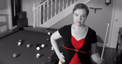Confident Female Pool Player With Sin City Effect - stock footage