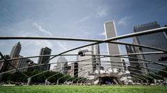 The jay pritzker pavilion in Millennium Park, Chicago, USA Stock Footage