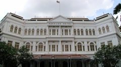 Exterior of the Raffles hotel historical building in Singapore, Singapore. Stock Footage