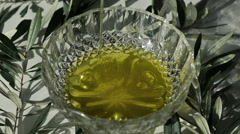 Сloseup Bowl With Extra Virgin Olive Oil Stock Footage