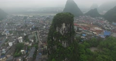 AERIAL TRACKING SHOT OF GIANT ROCK CLIFF IN YANGSHUO CITY CENTER CHINA Stock Footage