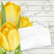 Paper card with tulips. EPS 10 - stock illustration