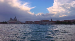 View from Venice vaporetto public transport boat to San Marco square, Italy - stock footage