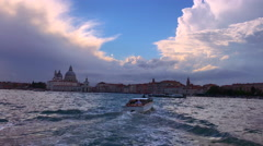 View from venetian vaporetto public transport boat to Venice, San Marco square Stock Footage
