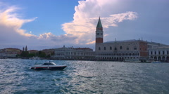 View from Venice vaporetto public transport boat to San Marco, Venice - stock footage