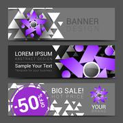 Horizontal banners for your business people logo gray, black purple Stock Illustration