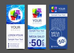 set of vertical banners with abstract full color logo - stock illustration