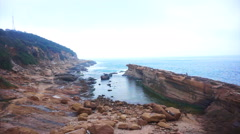 Water and stone transformation shaped rocks at Yeliu (Yehliu) Geopark Taiwan - stock footage