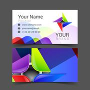 abstract decorative multicolor business card for your  logo - stock illustration