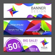 Set of horizontal banners with abstract full color logo Stock Illustration