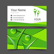 Business card for your business in the material design people logo Stock Illustration