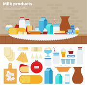 Milk products on the table Stock Illustration