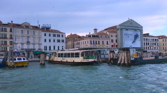 Vaporetto passenger boat arriving to San Marco sqaure, Venice, Venezia, Italy Stock Footage
