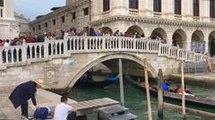 Ponte della Paglia is the oldest stone bridge in Venezia, Venice, Italy Stock Footage