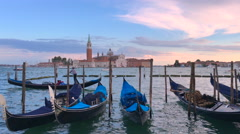 Venice Venezia Italy canal gondola gondolas parking parked sunset afterglow 4K Stock Footage