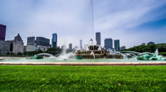 The fountain and modern buildings in Chicago, USA - stock footage
