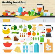 Healthy breakfast on the table in kitchen Stock Illustration