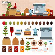 Coffee shop with different kinds of coffee on the table - stock illustration