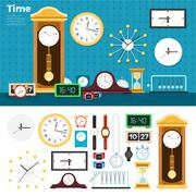 Stock Illustration of Different clocks in the room
