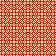 Seamless pattern with red and dark red stars on tan background - stock illustration